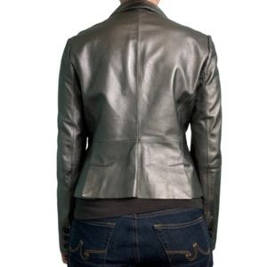 Philippe Adec Jackets & Coats - Philippe Adec silver leather two-button Blazer